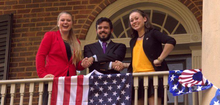 Beth Wright '17 (College Republicans), Andrès Ramos '17 (College Democrats), Sarah Gompper '18 (College Libertarians)