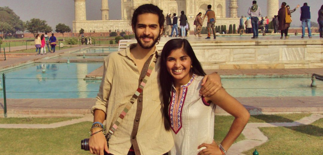 Rahat Sajwani '17 and friend studying abroad in India