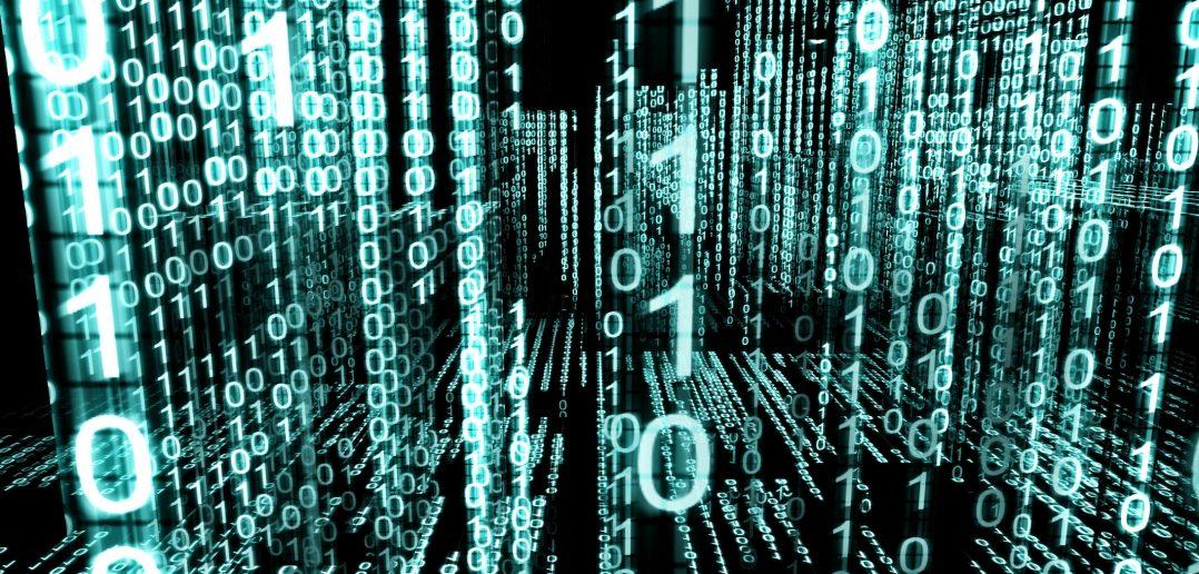 Various data going across a computer screen